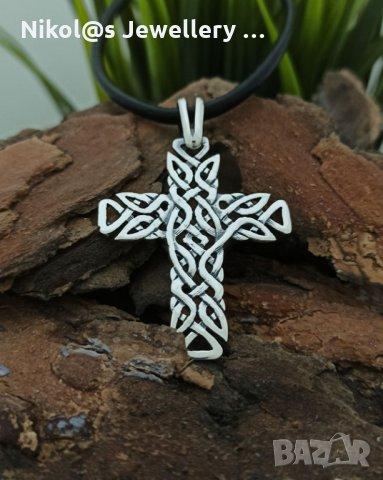 Сребърен медальон кръст с келтски мотиви 746M Студио Николас висулка от сребро с проба 925, снимка 1