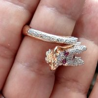 "Пръстен - 858 rose gold plated ""Dragon"" ring"